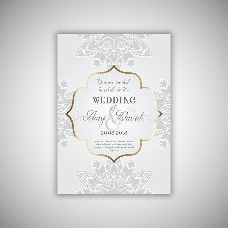 Декоративный дизайн приглашения свадьбы иллюстрация штока