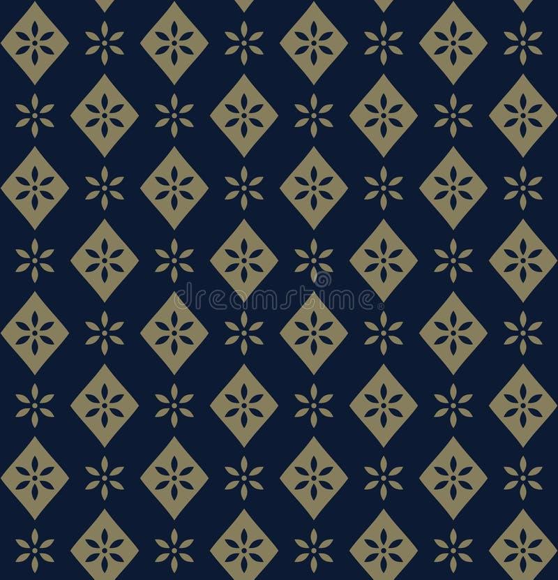 Декоративный золотой цветочный узор на голубой предпосылке иллюстрация вектора