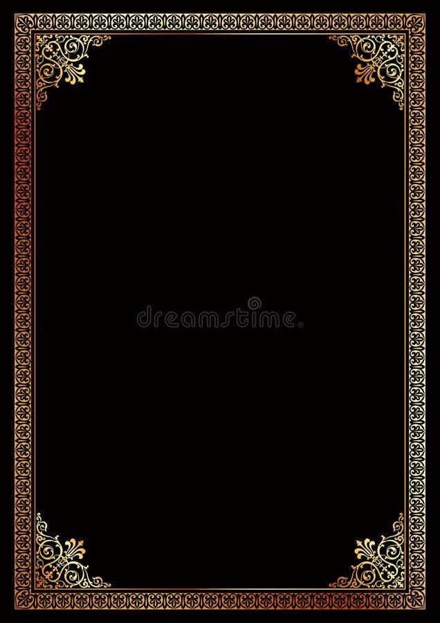Декоративный золотой шаблон сертификата рамки границы иллюстрация штока