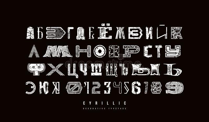 Декоративный кириллический шрифт различных стилей иллюстрация штока
