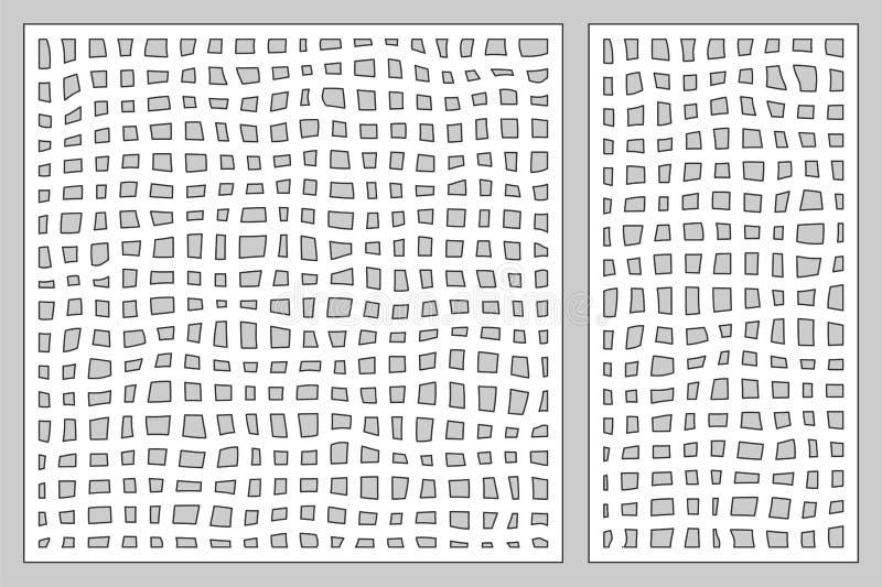 Декоративный комплект карточки для резать лазер или прокладчика Панель картины сетки Doodle Отрезок лазера 1:2 коэффициента; 1:1  иллюстрация вектора