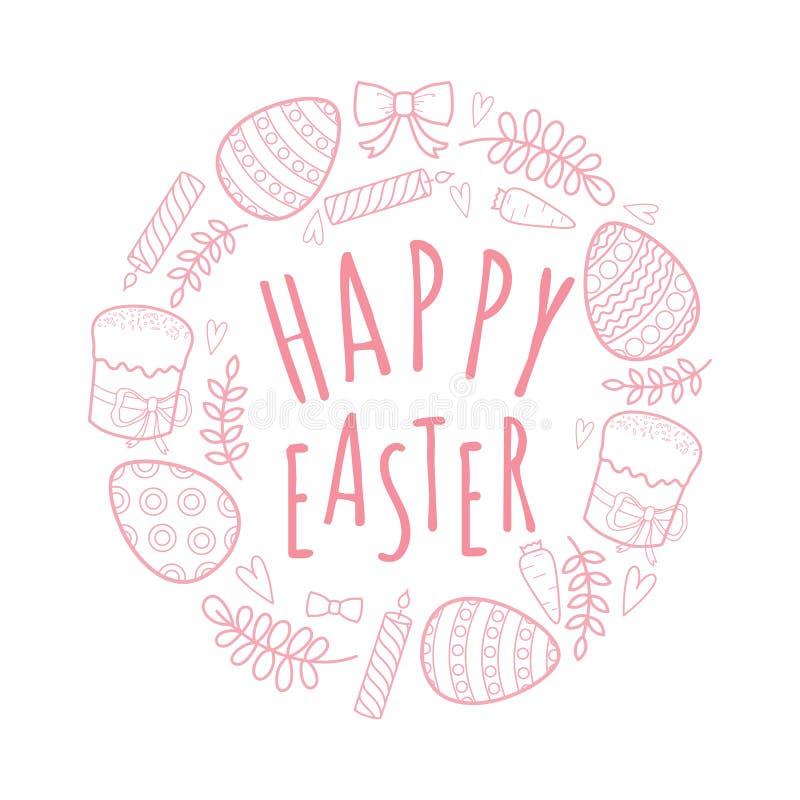 Декоративный комплект на праздник пасха Кролики девушка и мальчик, яичка, гирлянда, торт, хворостины, смычок и другие элементы дл иллюстрация штока