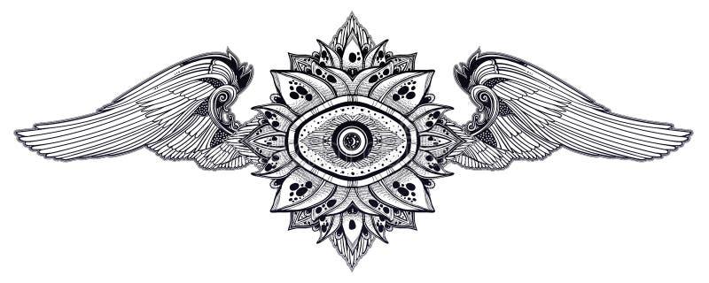 Декоративный, который подогнали глаз providence Элемент руки вычерченный в этническом восточном, индийском стиле иллюстрация вектора