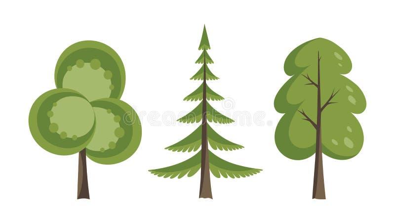 Декоративный набор значка деревьев Плоские деревья в плоском дизайне Изолировано на белизне иконы предпосылки легкие заменяют век иллюстрация вектора