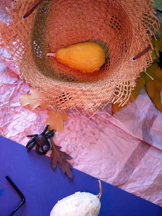 Декоративный натюрморт тыквы и соломенной шляпы, концепции сезонных праздников стоковые изображения rf