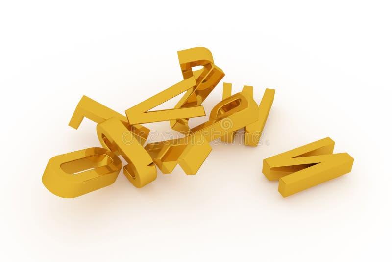 Декоративный, оформление CGI иллюстраций, алфавитный знак представляет письмо ABC, для предпосылки текстуры дизайна иллюстрация штока
