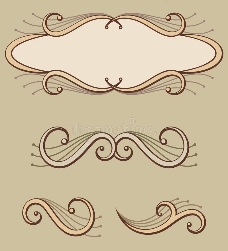 декоративный перечень панели орнаментов иллюстрация вектора