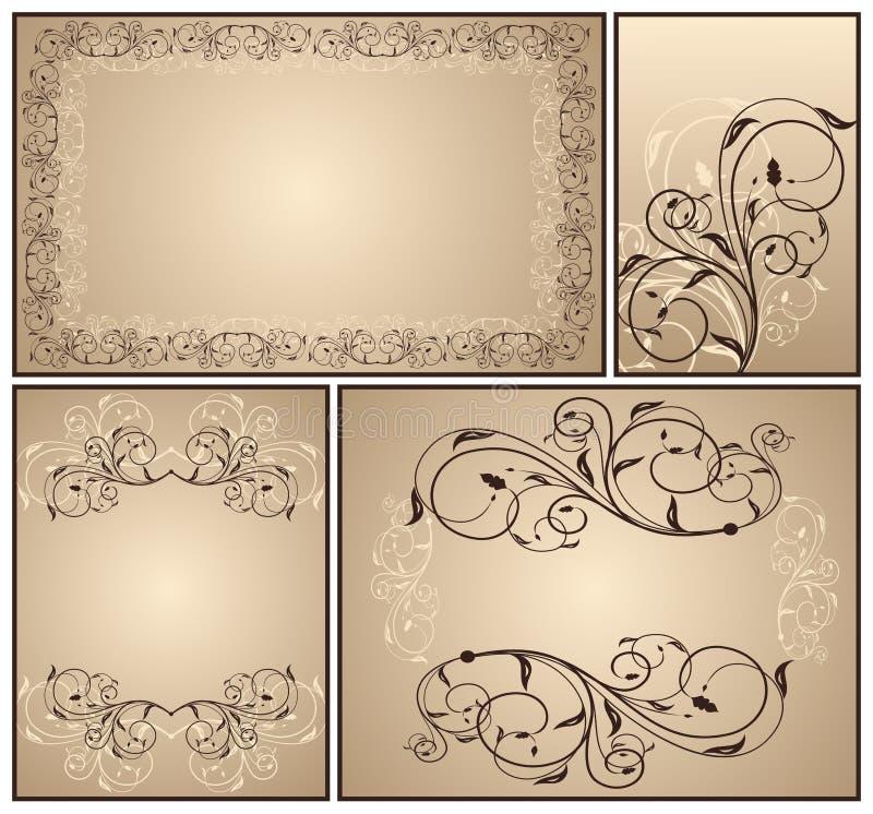 декоративный сбор винограда комплекта иллюстрация вектора