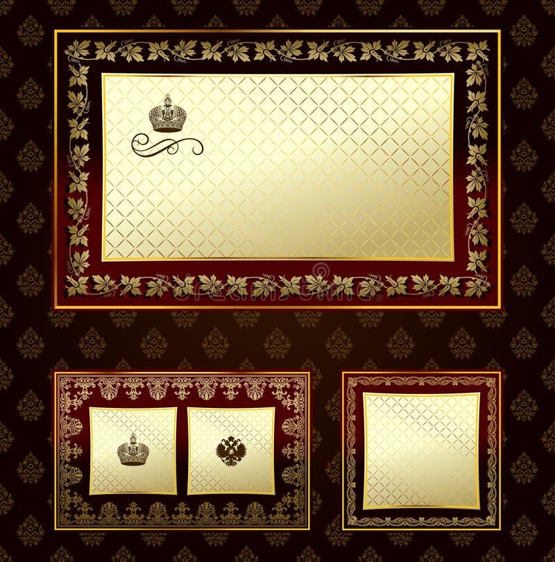 декоративный сбор винограда орнамента золота очарования рамки иллюстрация вектора