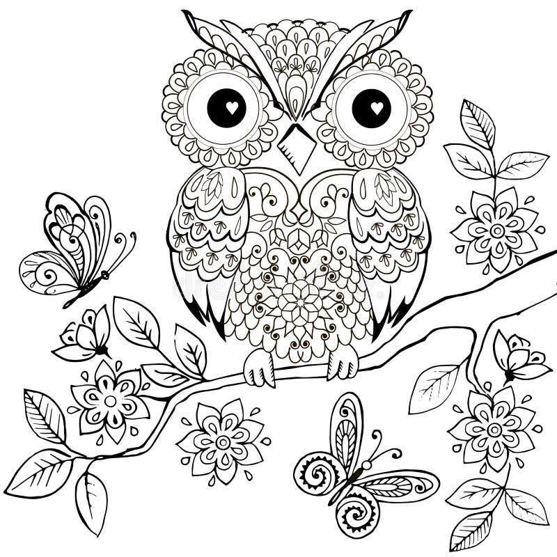 Декоративный сыч на цветя книжка-раскраске ветви для взрослых Вручите вычерченного декоративного сыча для анти- страницы расцветк иллюстрация вектора