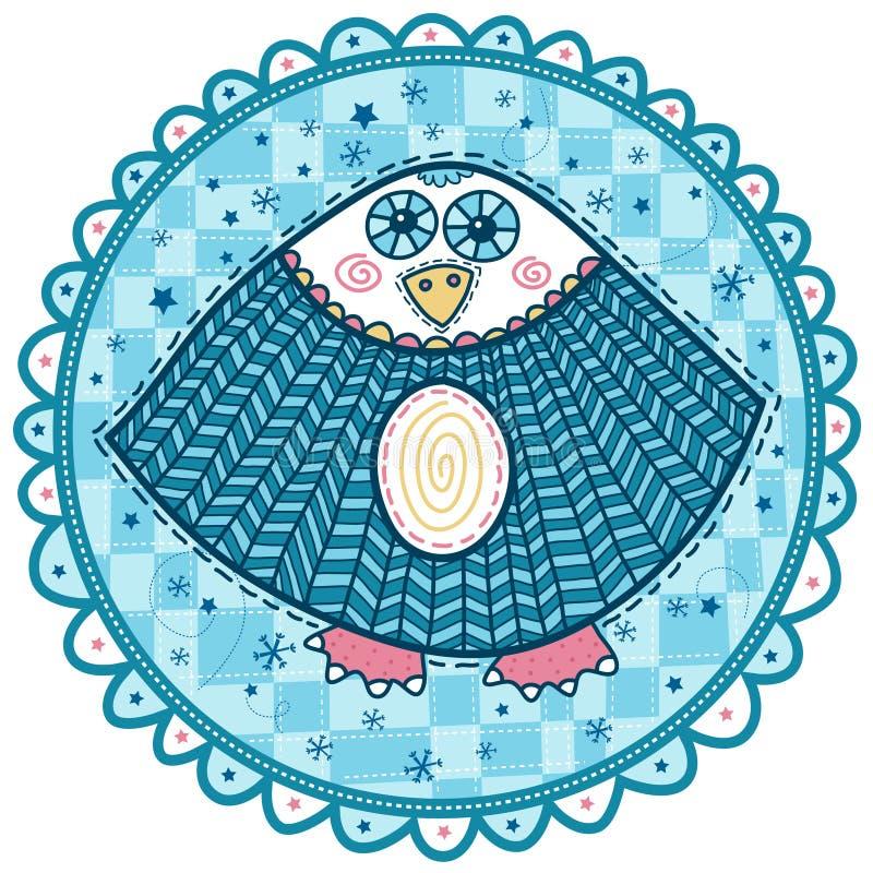 Декоративный сыч с голубыми глазами и румяными щеками иллюстрация штока