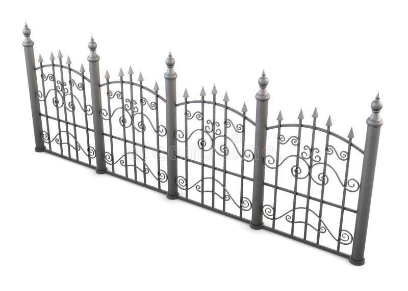 Декоративный угол взгляда загородки металла на белой предпосылке иллюстрация вектора