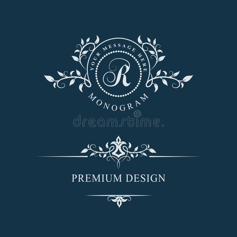 Декоративный флористический винтажный вензель Комплект каллиграфических шаблонов логотипа Знак r эмблемы письма Страница дизайна  иллюстрация штока