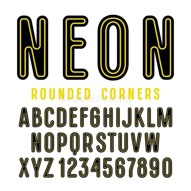 Декоративный шрифт sanserif с округленными углами иллюстрация штока