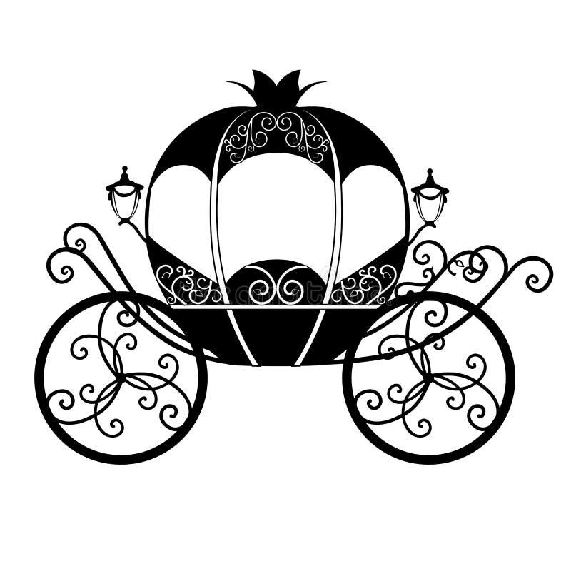 Декоративный brougham Экипаж свадьбы карета иллюстрация штока