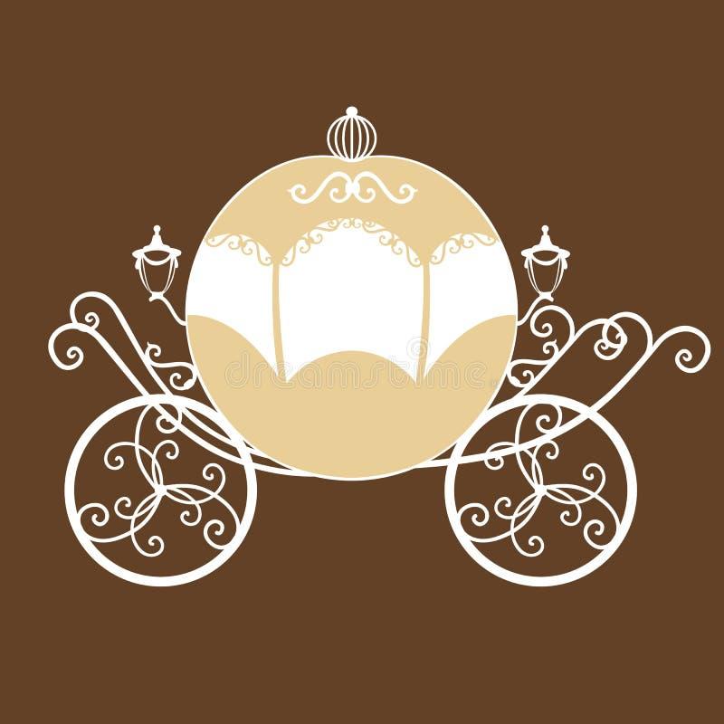 Декоративный brougham Экипаж свадьбы иллюстрация вектора