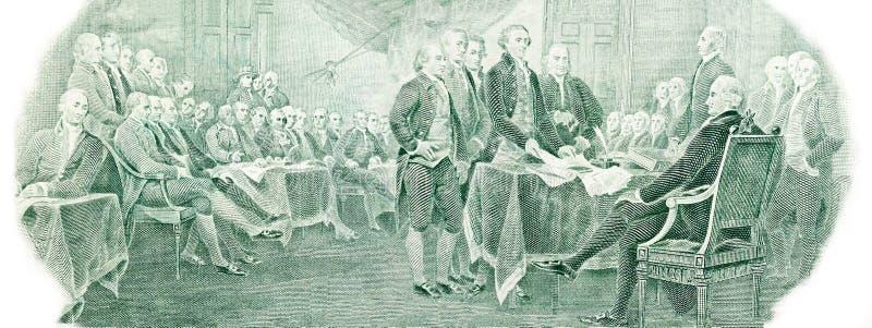 Декларация Независимости от u S доллары 2 счета стоковая фотография