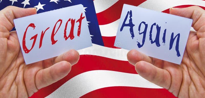 Делайте Америку большой снова с США сигнализировать на предпосылке стоковые фотографии rf
