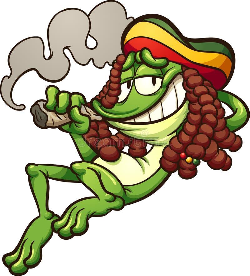 Деланный пи-пи курить лягушки Rasta иллюстрация штока