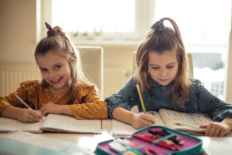 Делать домашнюю работу лучший когда мы делаем ее совместно стоковая фотография