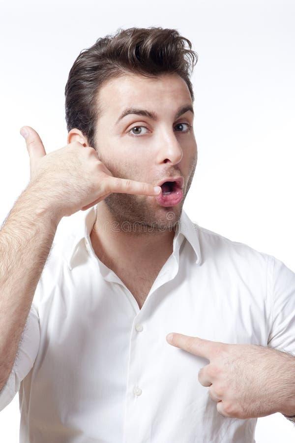 делать жеста звонока укомплектовывает личным составом меня стоковое изображение rf