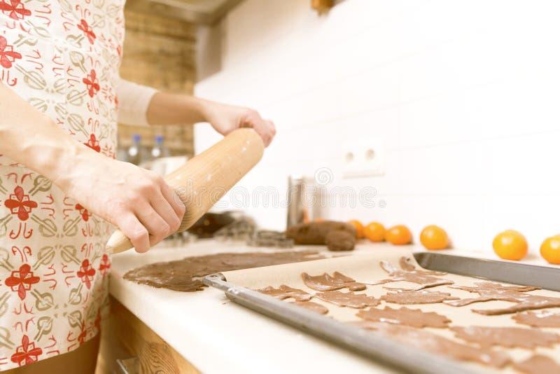 Делать печенья пряника для рождества в кухне ` S Хан женщины стоковое изображение