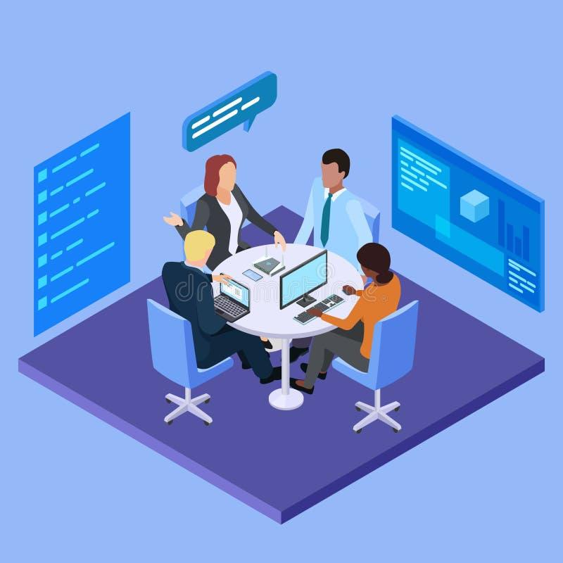 Деловая встреча в иллюстрации вектора международной компании равновеликой иллюстрация штока