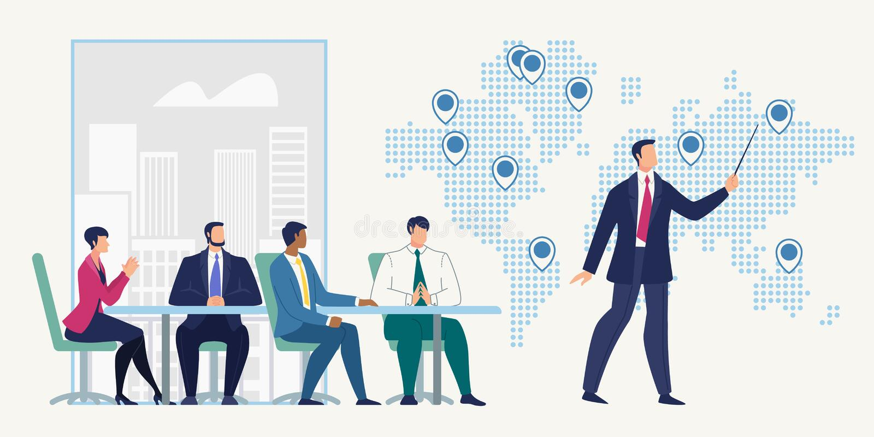 Деловая встреча в концепции вектора офиса компании иллюстрация штока