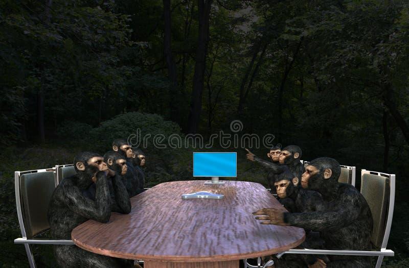 Деловая встреча обезьяны, продажи, маркетинг иллюстрация вектора