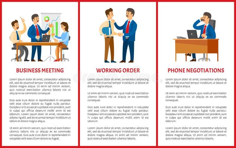 Деловая встреча, переговоры телефона рабочийа наряд иллюстрация вектора