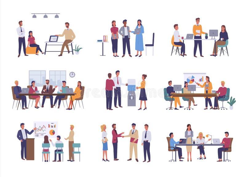 Деловая встреча, сыгранность или тимбилдинг офиса иллюстрация вектора