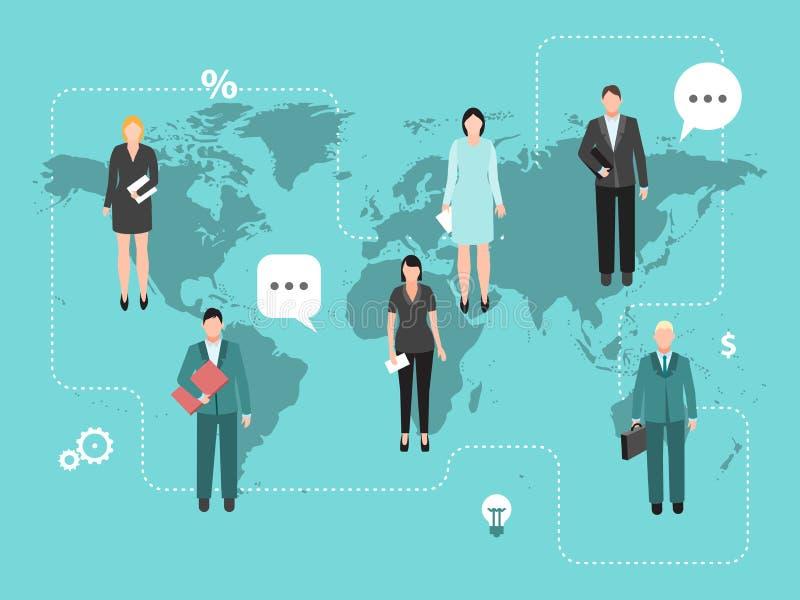 Деловое коворкинг на векторной иллюстрации мировой карты Командная работа по всему миру Предприниматели по всему миру объединяютс бесплатная иллюстрация