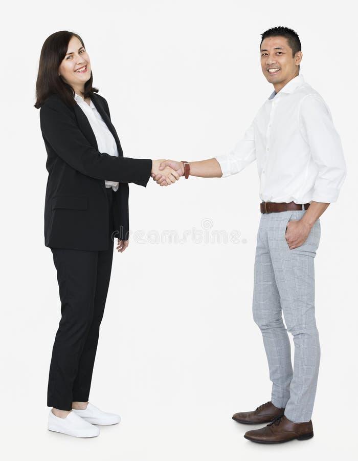 Деловые партнеры в рукопожатии стоковая фотография rf
