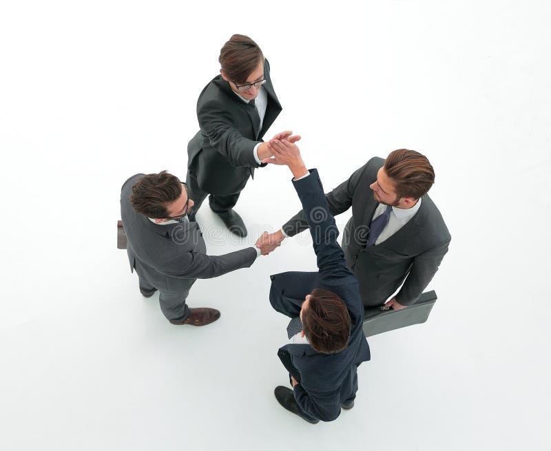 Деловые партнеры давая высокие 5 стоковое изображение rf
