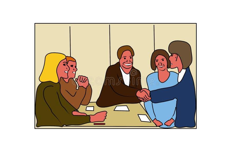 Деловые переговоры в современном стиле люди деловой встречи Встреча работы, деловые переговоры, конференция, групповое обсуждение иллюстрация вектора