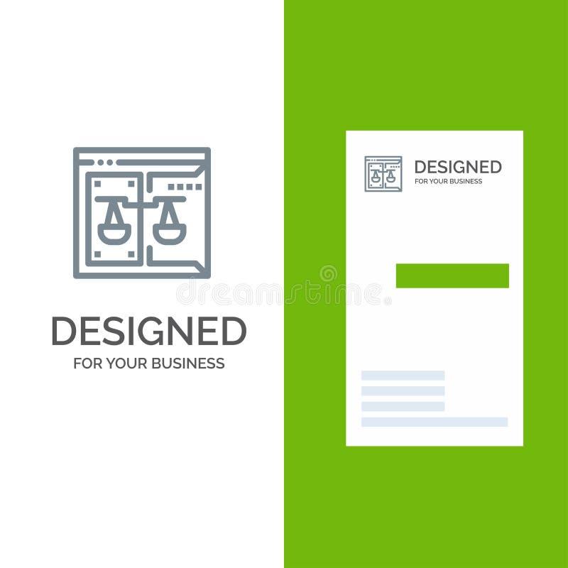 Дело, авторское право, суд, цифров, дизайн логотипа закона серые и шаблон визитной карточки иллюстрация вектора