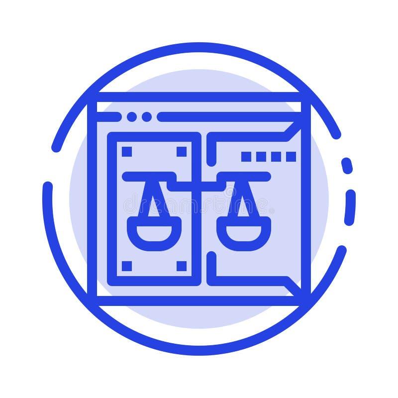 Дело, авторское право, суд, цифров, линия значок голубой пунктирной линии закона иллюстрация вектора