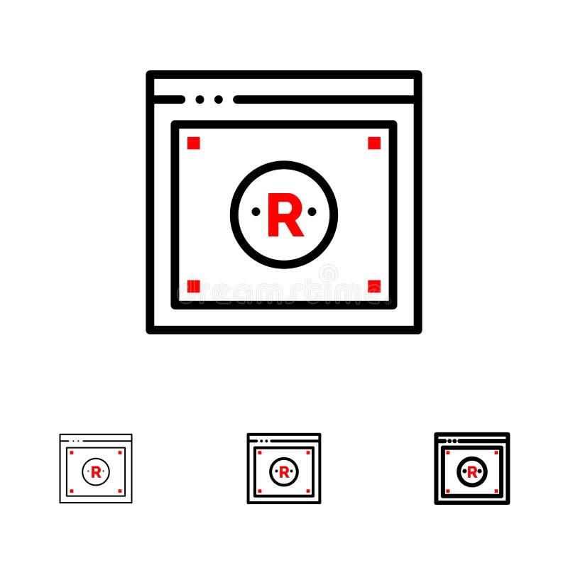 Дело, авторское право, цифров, закон, онлайн смелая и тонкая черная линия набор значка бесплатная иллюстрация