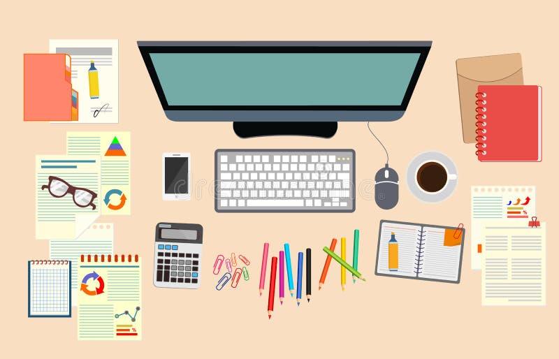 Дело аналитика Изучите стратегию бизнеса офис Реалистическая организация рабочего места Компьютер, документы, чашка блокнота стек бесплатная иллюстрация