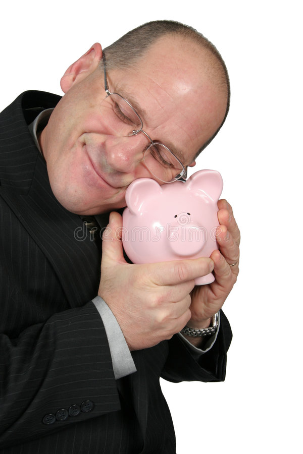 дело банка обнимая человека piggy стоковые фотографии rf