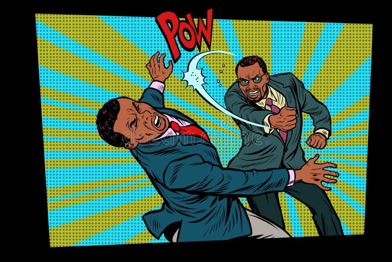 Дело боя, тяжелый удар Concep бизнесменов конкуренции иллюстрация штока
