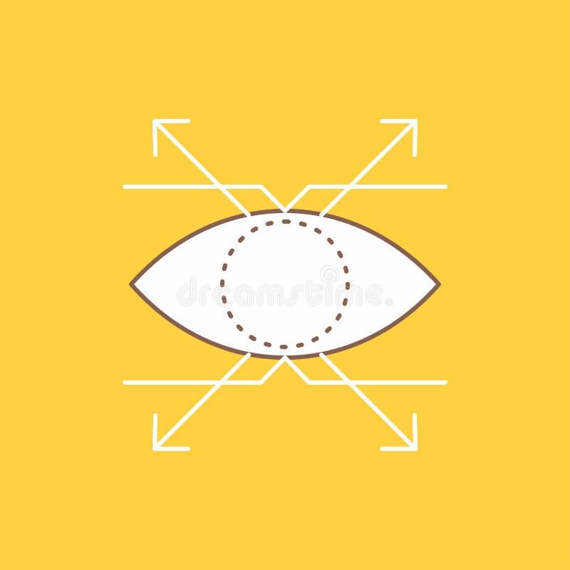 Дело, глаз, взгляд, линия зрения плоская заполнило значок Красивая кнопка логотипа над желтой предпосылкой для UI и UX, вебсайта  иллюстрация вектора