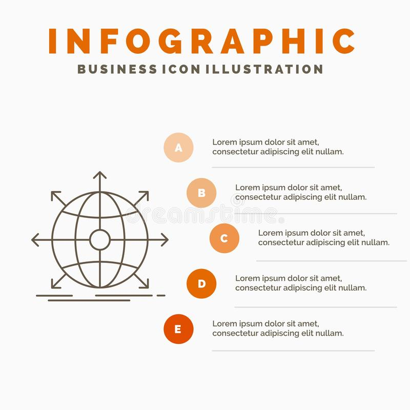 дело, глобальное, международное, сеть, шаблон Infographics сети для вебсайта и представление Линия серый значок с апельсином иллюстрация штока