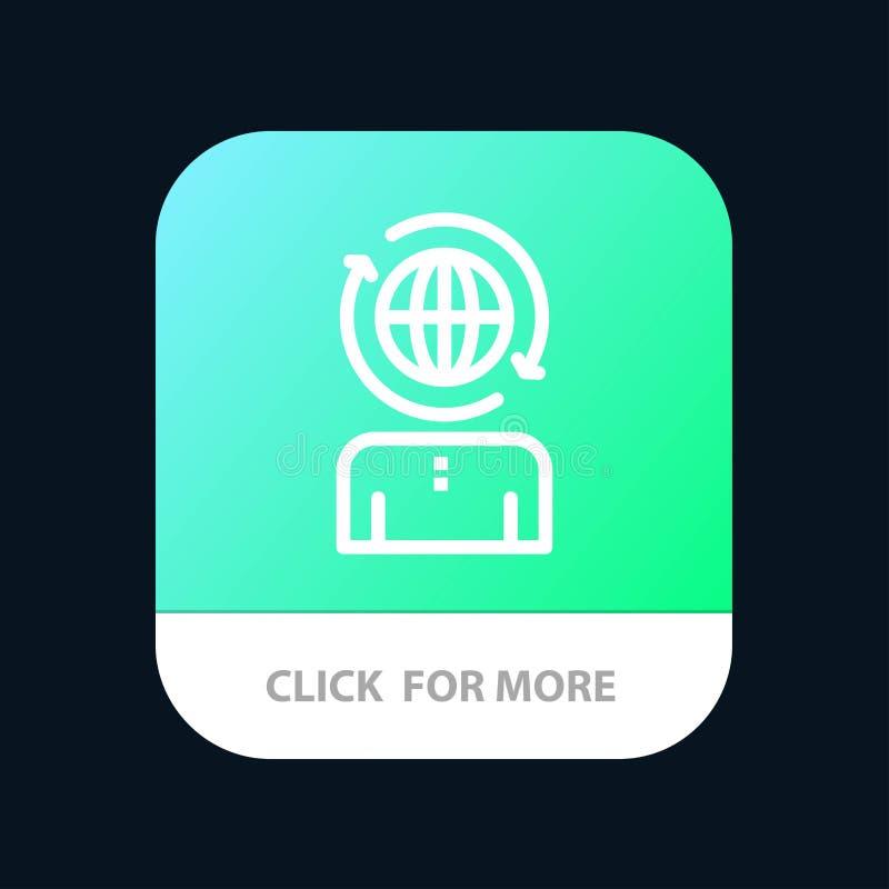 Дело, глобальное, управление, современная мобильная кнопка приложения Андроид и линия версия IOS иллюстрация штока
