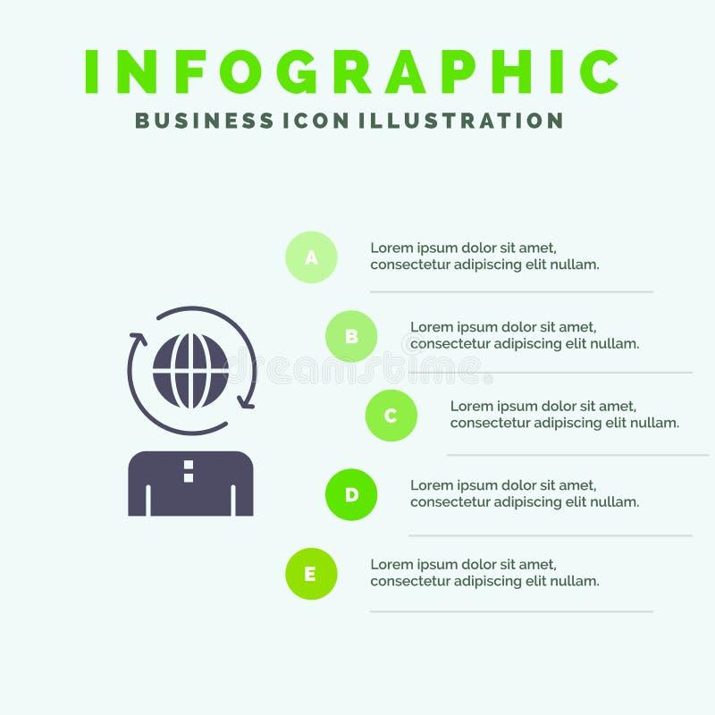 Дело, глобальное, управление, современная твердая предпосылка представления шагов Infographics 5 значка иллюстрация вектора