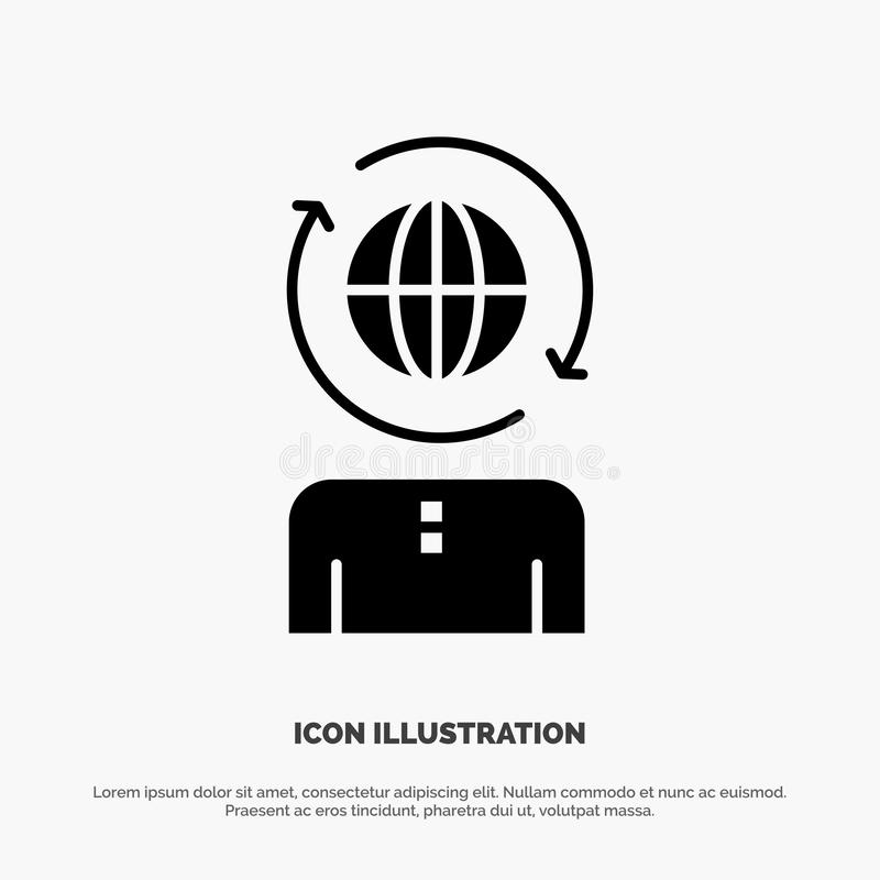 Дело, глобальное, управление, современный твердый вектор значка глифа бесплатная иллюстрация