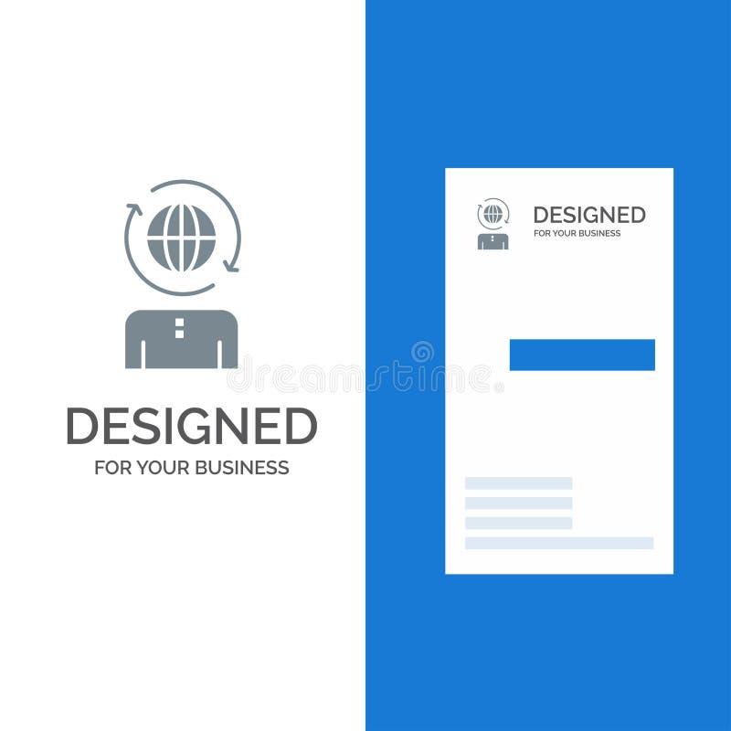 Дело, глобальный, управление, современный серый дизайн логотипа и шаблон визитной карточки бесплатная иллюстрация