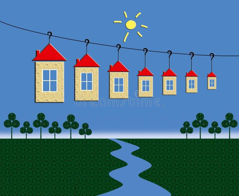 Дело гостиницы : Группа в составе дома с красной крышей на фуникулере над долиной с рекой иллюстрация вектора