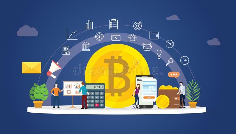 Дело денег cryptocurrency Bitcoin цифровое со значками золотой монеты и людьми команды работая совместно для того чтобы управлять иллюстрация вектора