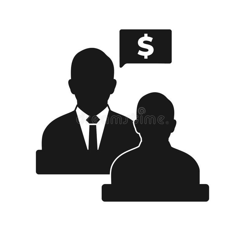 Дело и финансовый значок советника иллюстрация штока
